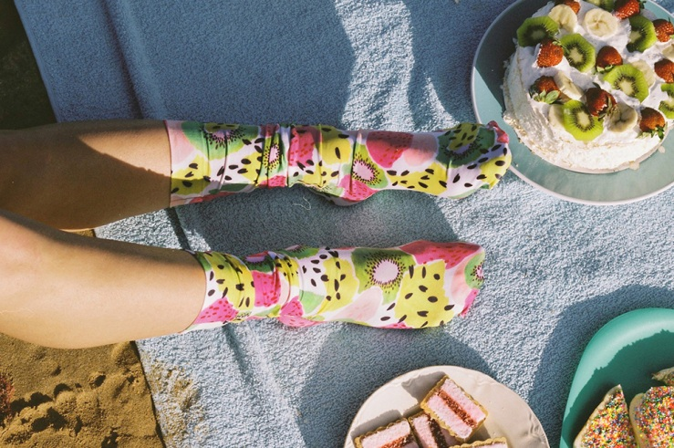 julie white kiwi socks