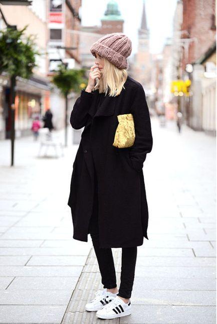 black street style beanie