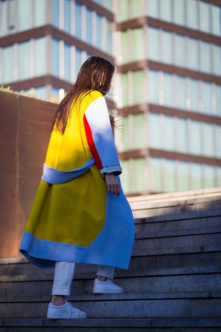street style long colourful coat