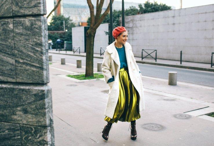 street style lame skirt