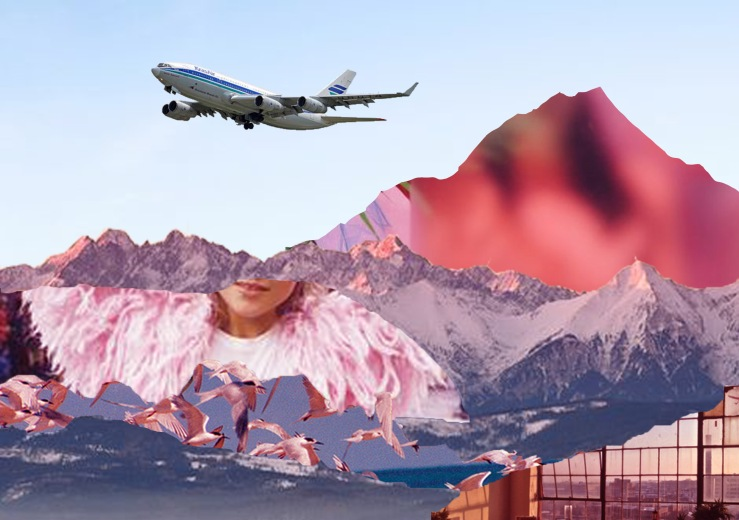 airport mountain collage