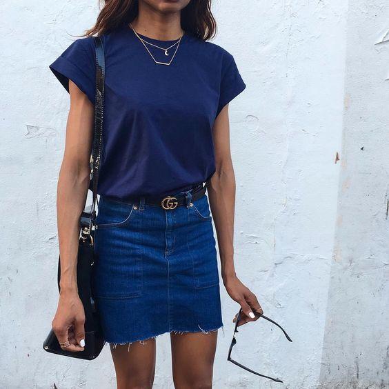 denim skirt and belt style