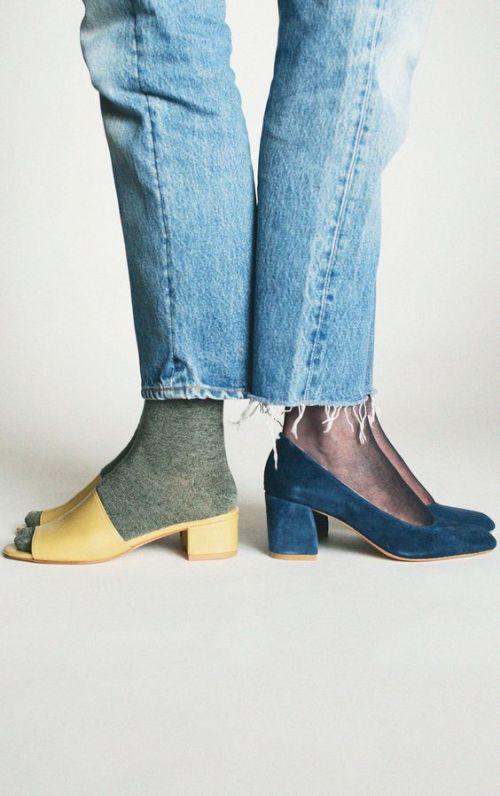 denim socks and sandals