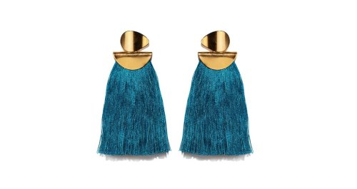 lizzie fortunato teal crater earrings