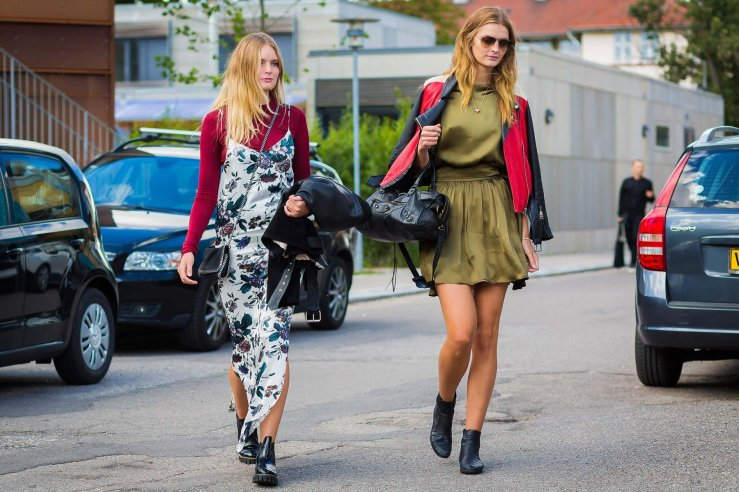 street style slip dress layers