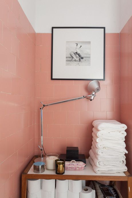 bathroom pink tiles