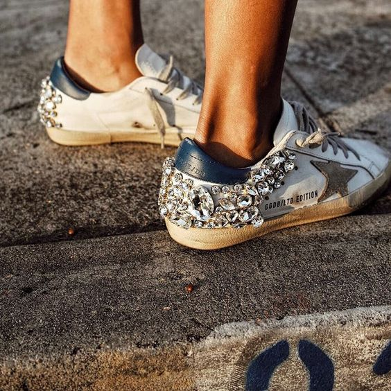 embellished sneakers street style