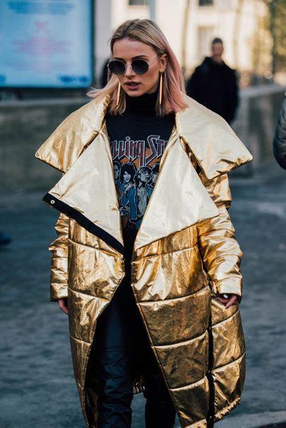 golden jacket street style