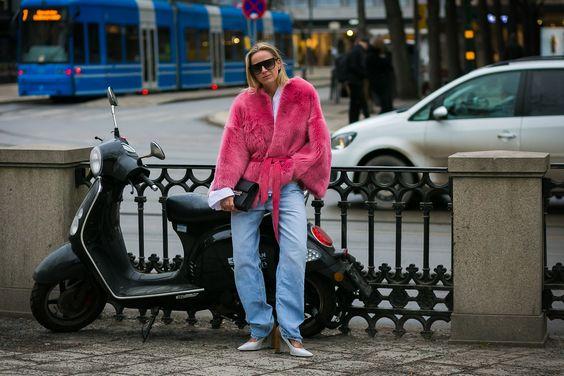 pink fur coat street style