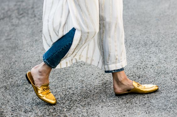 street style gold slip ons
